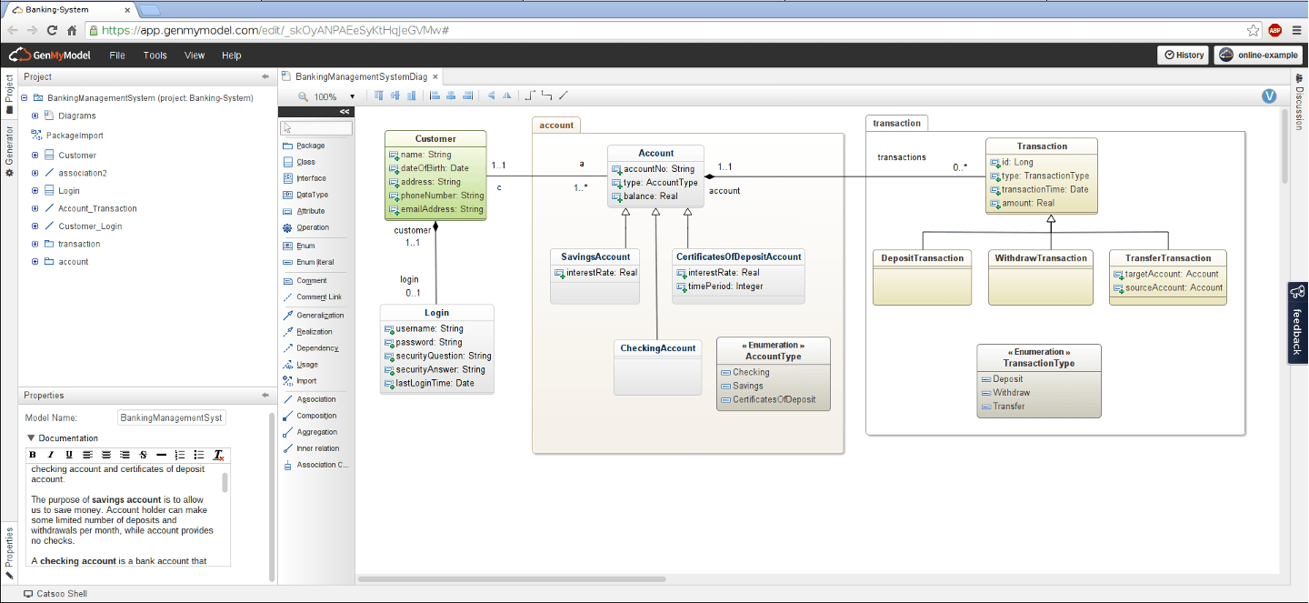 a class diagram designed online with genmymodel - Sequence Diagram Free Tool